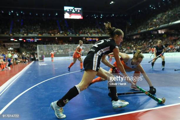 Cecile Pieper of Germany and Marijn Veen of Netherlands during the Women Gold Medal Indoor Hockey World Cup Berlin Final Day match between Germany...