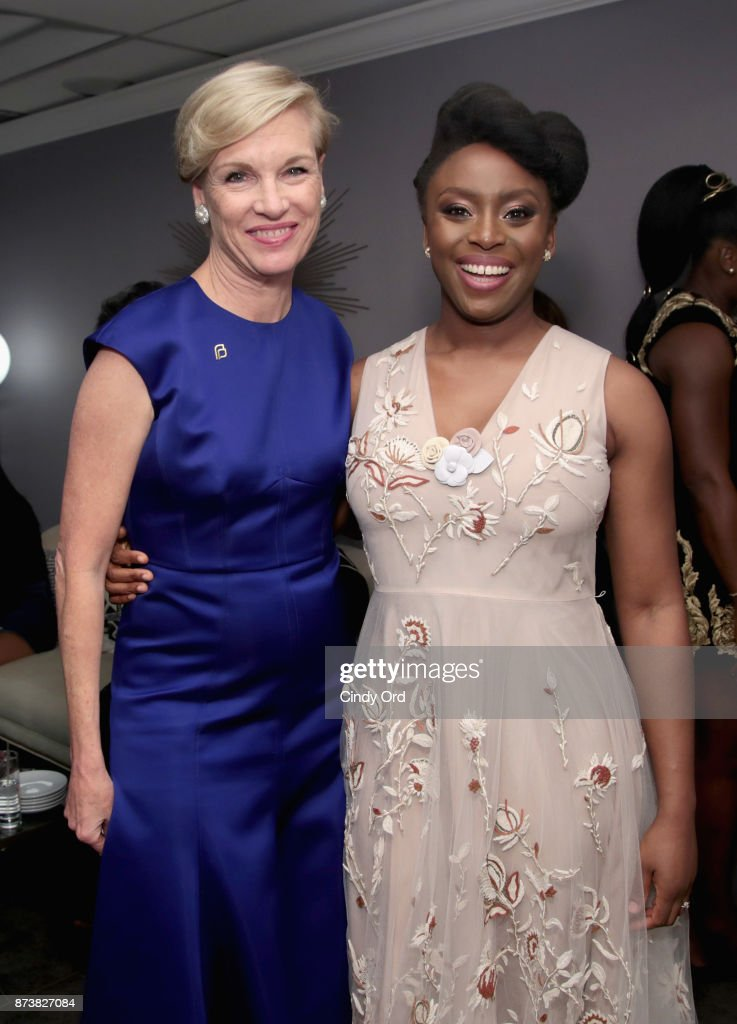 Cecile Richards and Chimamanda Ngozi Adichie pose backstage at Glamour's 2017 Women of The Year Awards at Kings Theatre on November 13, 2017 in Brooklyn, New York.