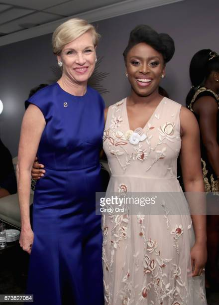 Cecile Richards and Chimamanda Ngozi Adichie pose backstage at Glamour's 2017 Women of The Year Awards at Kings Theatre on November 13 2017 in...