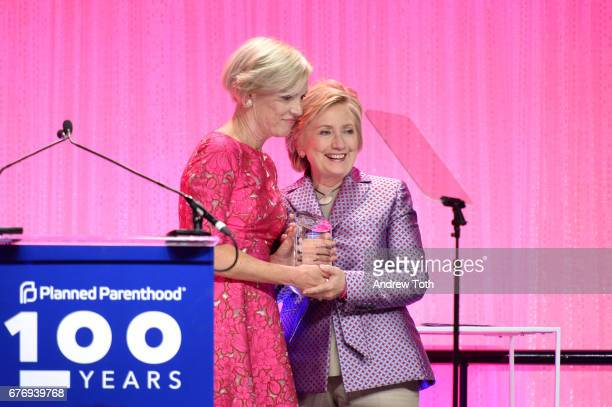 Cecile Richards and Hillary Clinton speak onstage at the Planned Parenthood 100th Anniversary Gala at Pier 36 on May 2 2017 in New York City