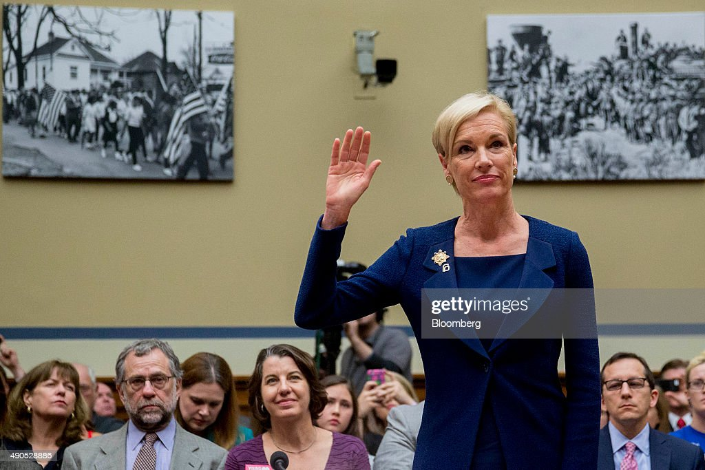 Cecile Richards, president of Planned Parenthood Federation of America Inc., swears in to a House Oversight and Government Reform Committee hearing in Washington, D.C., U.S., on Tuesday, Sept. 29, 2015. Conservative House Republicans have demanded a government shutdown if lawmakers don't defund Planned Parenthood, the women's reproductive health-care provider whose services include abortion. Photographer: Andrew Harrer/Bloomberg via Getty Images