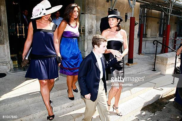 Cecilia Attias and her son Louis Sarkozy leave the town hall of Paris 7th after the civil wedding of JeanneMarie Martin and Gurvan Rallon on May 10...