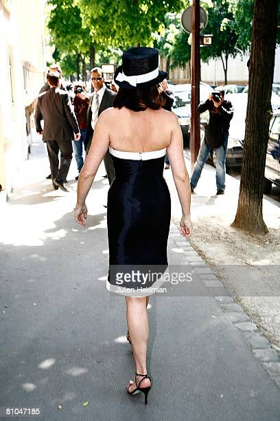 Cecilia Attias arrives at Richard Attias' house after the wedding of her daughter JeanneMarie Martin at the town hall of Paris 7th arrondissement on...