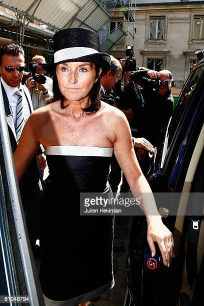 Cecilia Attias leaves the wedding of her daughter JeanneMarie Martin held at the town hall of Paris 7th arrondissement on May 10 2008 in Paris France