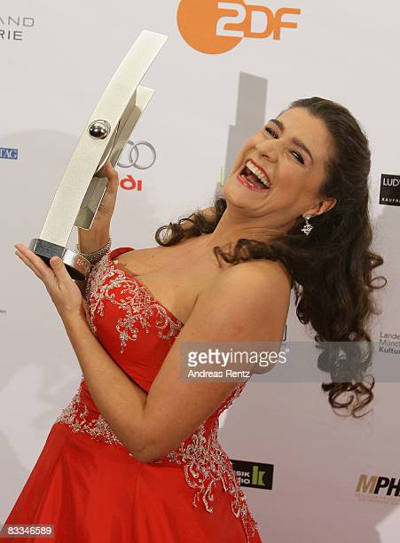 Cecilia Bartoli poses with the award during the the Echo Klassik award ceremony on October 19, 2008 in Munich, Germany.