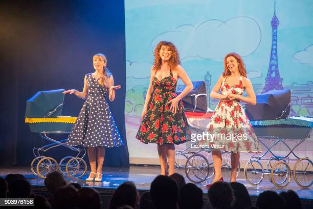 Cecilia Cara Marion Posta and Anais Delva perform during 'Enooormes' Paris Premiere at Theater Trevise on January 12 2018 in Paris France