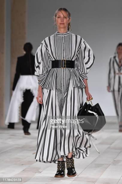 Cecilia Chancellor walks the runway during the Alexander McQueen Womenswear Spring/Summer 2020 show as part of Paris Fashion Week on September 30,...
