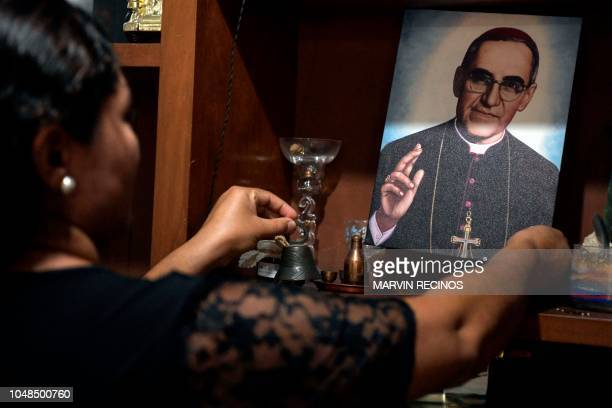 Cecilia Flores de Rivas holds an image of blessed Monsignor Oscar Romero whose intercession granted her with a miracle in San Salvador on September...