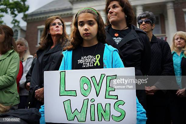 Cecilia Floros of Newtown attends a remembrance event on the six month anniversary of the massacre at Sandy Hook Elementary School on June 14 2013 in...