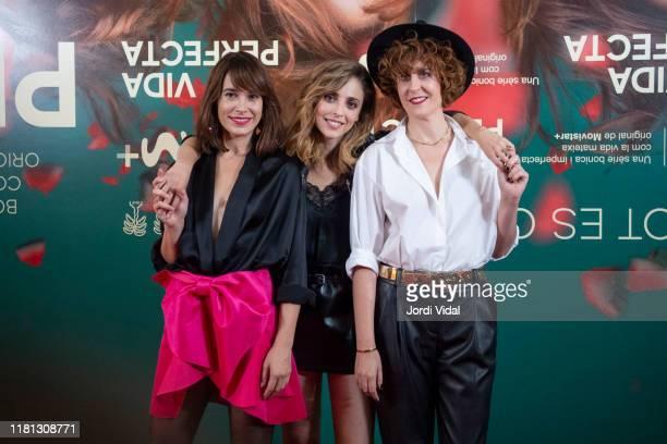 Cecilia Freijeiro, director Leticia Dolera and Aixa Villagran attend the premiere of 'Vida Perfecta' at Cinema Phenomena on October 15, 2019 in...