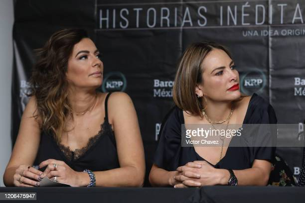 Cecilia Galliano and Fabiola Campomanes attend a press conference to promote the play Invencible at Barcelo Reforma Hotel on March 10 2020 in Mexico...