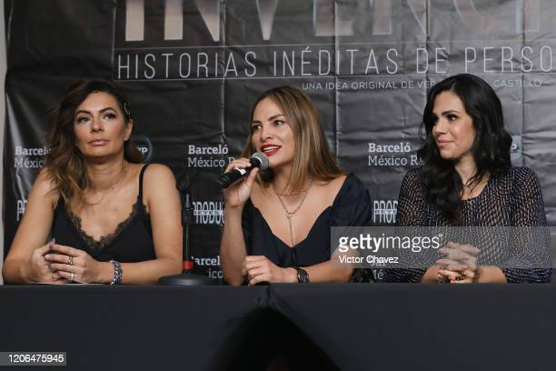 Cecilia Galliano Fabiola Campomanes and Luz Elena Gonzalez attend a press conference to promote the play Invencible at Barcelo Reforma Hotel on March...