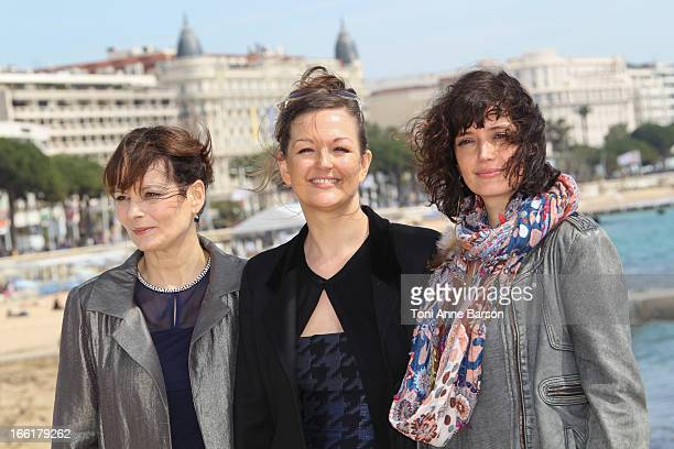 "Cecilia Hornus, Anne Girouard and Helene Seuzaret attend the ""Marseille"" photocall on April 9, 2013 in Cannes, France."