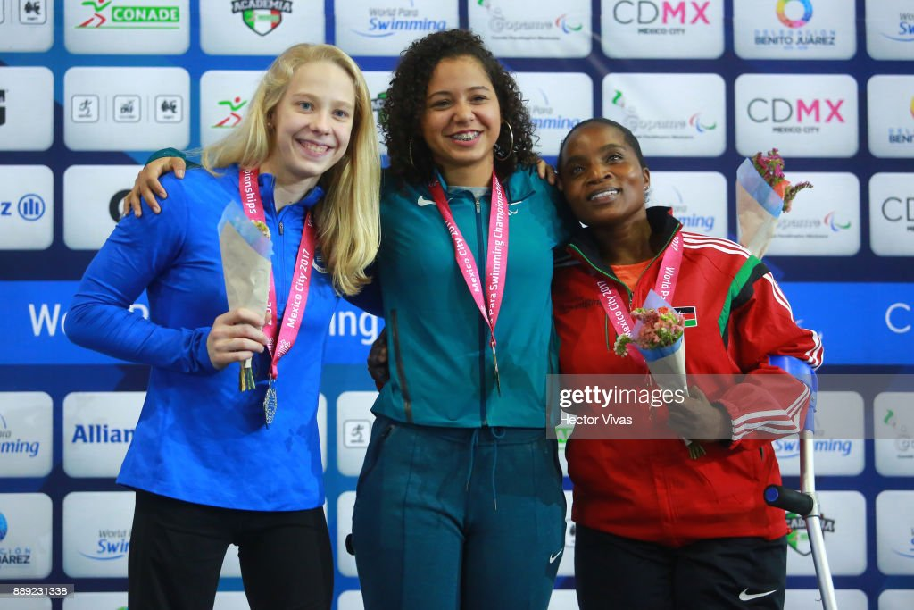 Cecilia Jeronimo of Brazil Gold Medal, Julia Gaffney of United States Silver Medal and Ann Wacuka of Kenia Bronze medal pose after the women's 50 m Freestyle S8 celebration during day 7 of the Para Swimming World Championship Mexico City 2017 at Francisco Marquez Olympic Swimming Pool. on December 7, 2017 in Mexico City, Mexico.