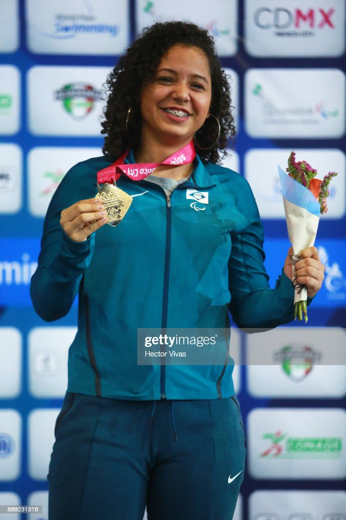 Cecilia Jeronimo of Brazil Gold Medal poses in women's 50 m Freestyle S8 celebration during day 7 of the Para Swimming World Championship Mexico City 2017 at Francisco Marquez Olympic Swimming Pool. on December 7, 2017 in Mexico City, Mexico.