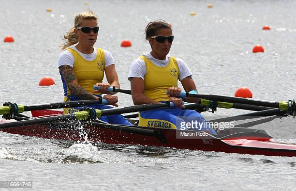 Cecilia Lilja and Kristina Knejp Christensson of Sweden row in the women's lightweight double sculls during the qualification heat of the FISA Rowing...
