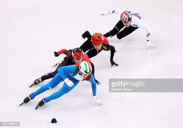 Cecilia Maffei of Italy competes during the Ladies Short Track Speed Skating 3000m Relay Final A on day eleven of the PyeongChang 2018 Winter Olympic...
