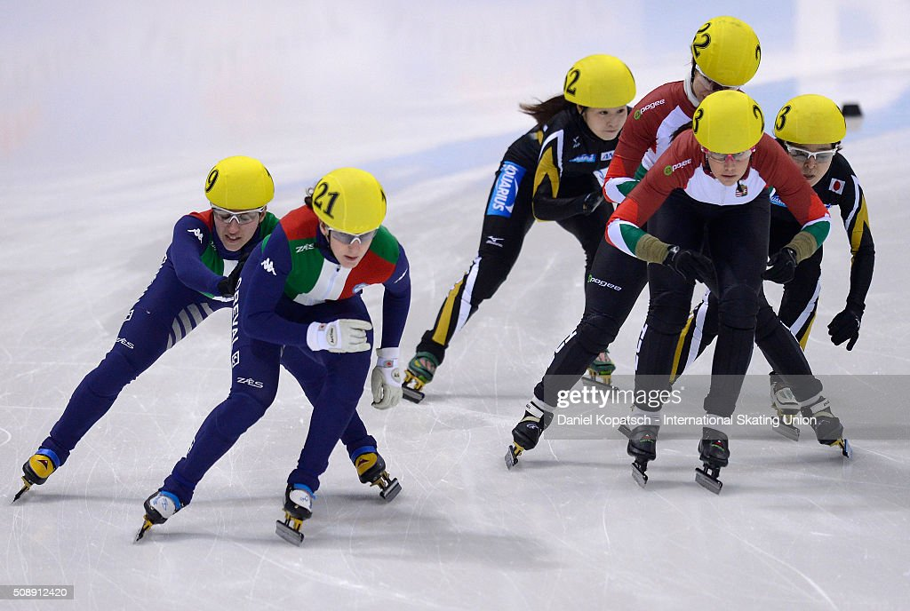 Cecilia Maffei of Italy leads the Ladies 3000 M Relay Final during day two of the ISU World Cup Short Track Speed Skating at EnergieVerbund Arena on February 7, 2016 in Dresden, Germany.