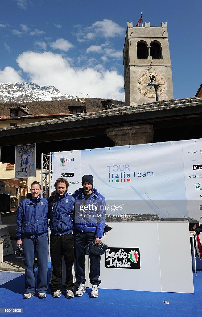 L-R Cecilia Maffei, Yuri Confortola and Nicola Rodigari attend the Italia Team Tour Event on March 24, 2010 in Bormio, Italy.