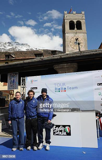 Cecilia Maffei Yuri Confortola and Nicola Rodigari attend the Italia Team Tour Event on March 24 2010 in Bormio Italy