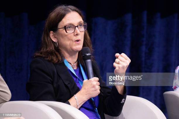 Cecilia Malmstrom European Union trade commissioner gestures while speaking during a panel discussion at the 75th anniversary of the Bretton Woods...