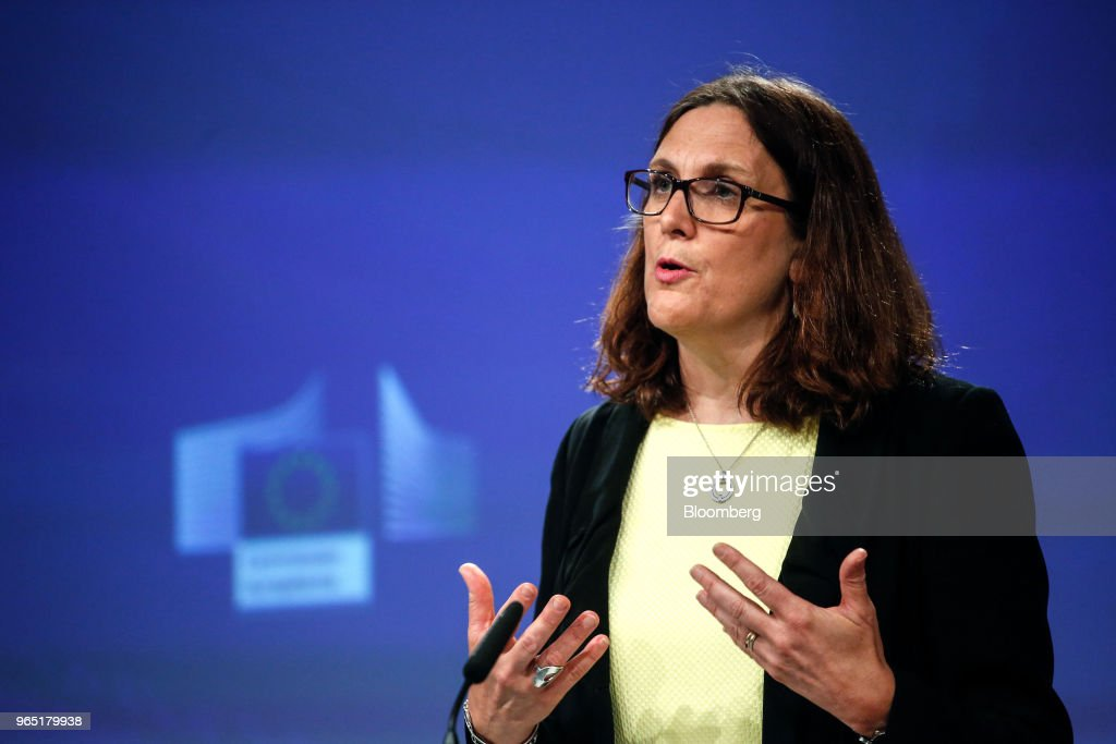 European Union Trade Commissioner Cecilia Malmstrom News Conference As U.S. Imposes Steel Tariffs