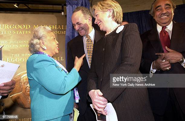 Cecilia Marshall widow of the late US Supreme Court Justice Thurgood Marshall talks with New York Sens Chuck Schumer and Hillary Clinton as Rep...