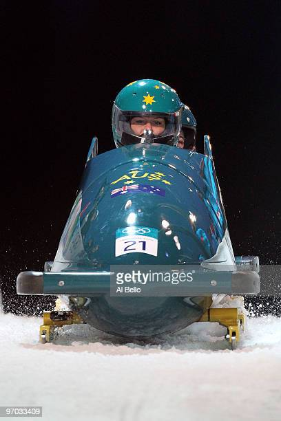 Cecilia McIntosh and Astrid LockWilkinson of Australia compete in Australia 1 during the womens bobsleigh on day 13 of the 2010 Vancouver Winter...