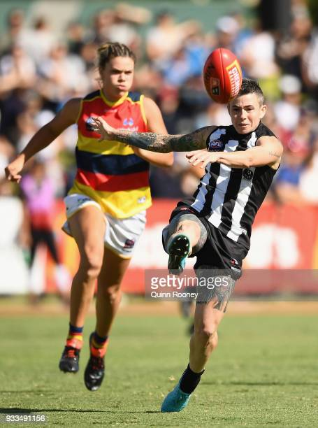 Cecilia McIntosh of the Magpies kicks during the round seven AFLW match between the Collingwood Magpies and the Adelaide Crows at Olympic Park on...