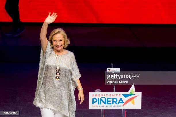 Cecilia Morel wife of Sebastián Piñera greets supporters during the campaign closing rally at the Caupolicán Theater on December 14 2017 in Santiago...
