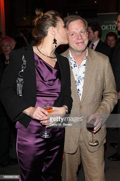 Cecilia Nilsson kisses husband Krister Henriksson after he made his West end debut in 'Doktor Glas' by Hjalmar Solderberg at Wyndhams Theatre on...