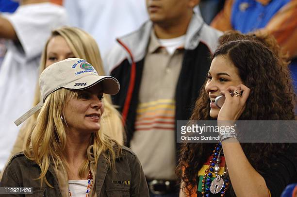 Cecilia Rodhe mother of University of Florida player Joakim Noah with Noah's sister Yelena wait in the stands before the start of the semifinals of...