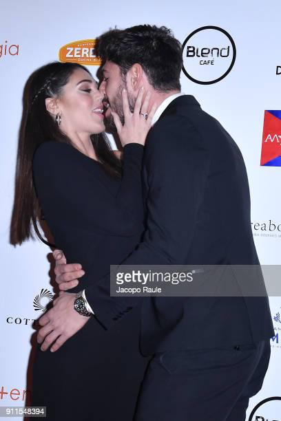 Cecilia Rodriguez and Ignazio Moser attend the Alessandro Martorana Party on January 28 2018 in Milan Italy