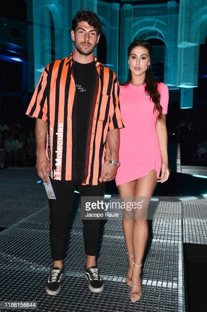 Cecilia Rodriguez and Ignazio Moser attend the Marcelo Burlon County Of Milan fashion show during the Milan Men's Fashion Week Spring/Summer 2020 on...