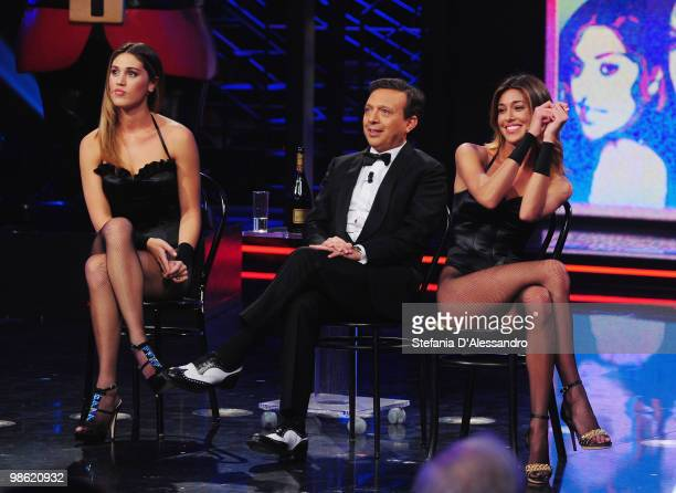 Cecilia Rodriguez Piero Chiambretti and Belen Rodriguez attend the 'Chiambretti Night' TV Show at the Mediaset Studios on April 22 2010 in Milan Italy