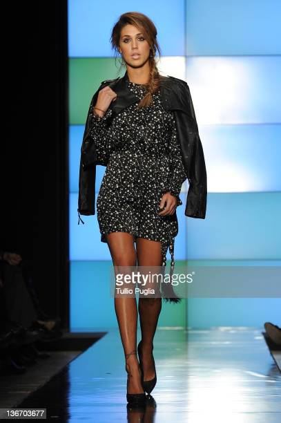Cecilia Rodriguez walks the runway at the Rifle fashion show during Pitti Immagine Uomo 81 on January 10 2012 in Florence Italy
