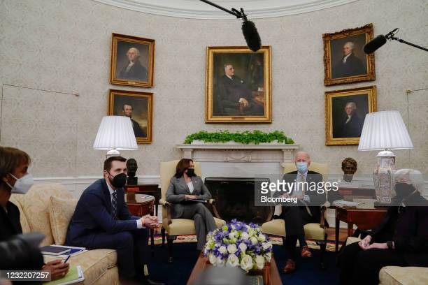 Cecilia Rouse, chair of the U.S. Council Of Economic Advisers, from left, Brian Deese, director of the National Economic Council, U.S. Vice President...
