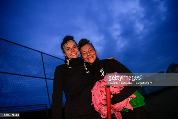 Cecilia Salvai and Arianna Caruso during a Juventus Women training session on January 10 2018 in Turin Italy