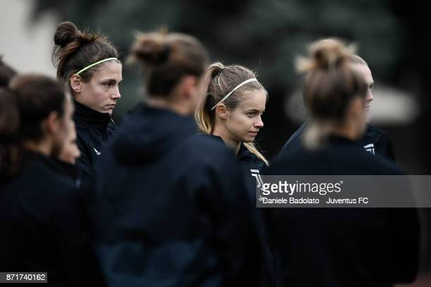 Cecilia Salvai and Kathryn Rood in action during the Juventus women training session on November 8 2017 in Turin Italy