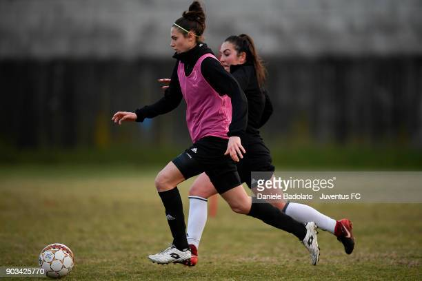 Cecilia Salvai and Katie Zelem during a Juventus Women training session on January 10 2018 in Turin Italy