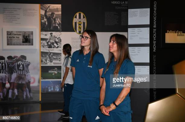 Cecilia Salvai and Michela Franco of Juventus Women look on during a visit to the Club's Museum on August 12 2017 in Turin Italy