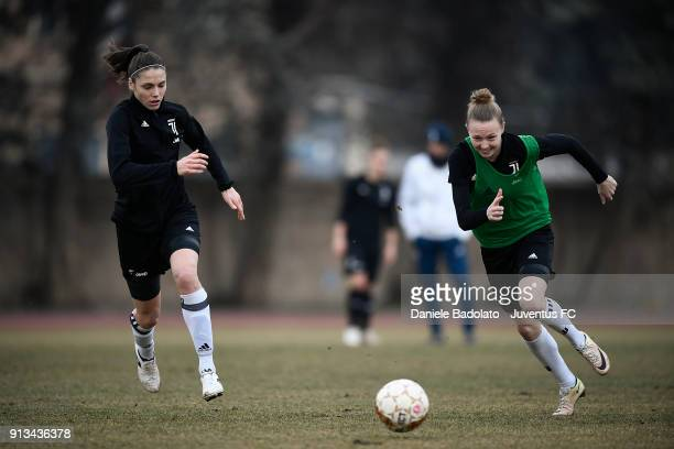 Cecilia Salvai and Sanni Maija Franssi during a Juventus Women training session on February 2 2018 in Turin Italy
