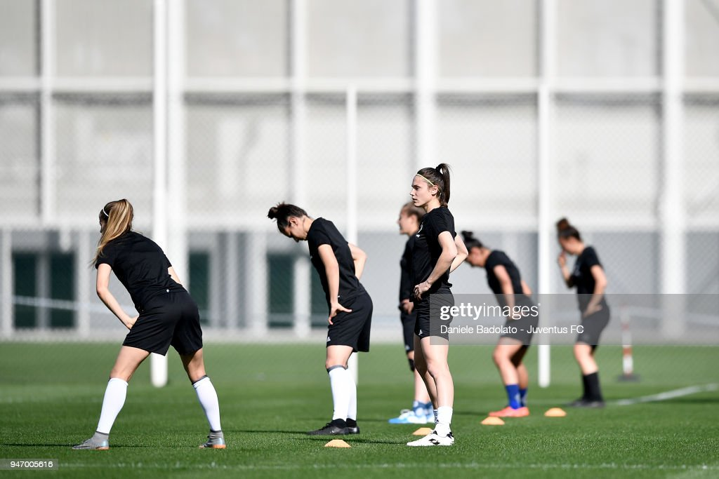Cecilia Salvai during the Juventus Women first training session at Jtc in Continassa on April 16, 2018 in Turin, Italy.