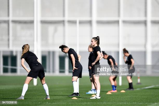 Cecilia Salvai during the Juventus Women first training session at Jtc in Continassa on April 16 2018 in Turin Italy