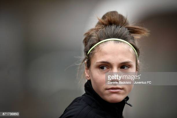 Cecilia Salvai in action during the Juventus women training session on November 8 2017 in Turin Italy