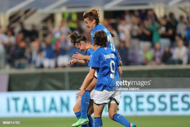 Cecilia Salvai of Italy celebrates after scoring a goal during the 2019 FIFA Women's World Cup Qualifier match between Italy and Portugal at Stadio...