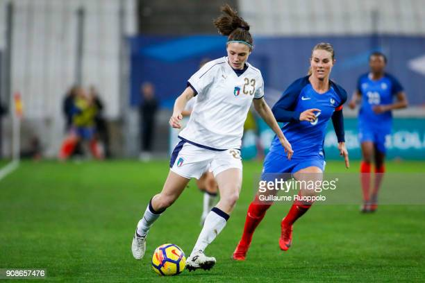Cecilia Salvai of Italy during the International friendly match between France and Italy at Stade Velodrome on January 20 2018 in Marseille France