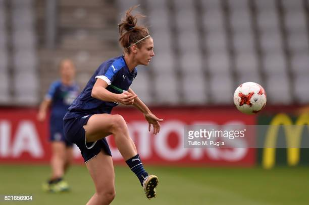 Cecilia Salvai of Italy women's national football team takes part in a training session during the UEFA Women's Euro 2017 at De Vijverberg stadium on...