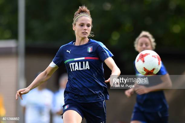 Cecilia Salvai of Italy women's national team in action during a training session during the UEFA Women's EURO 2017 at De Zwervers training center on...