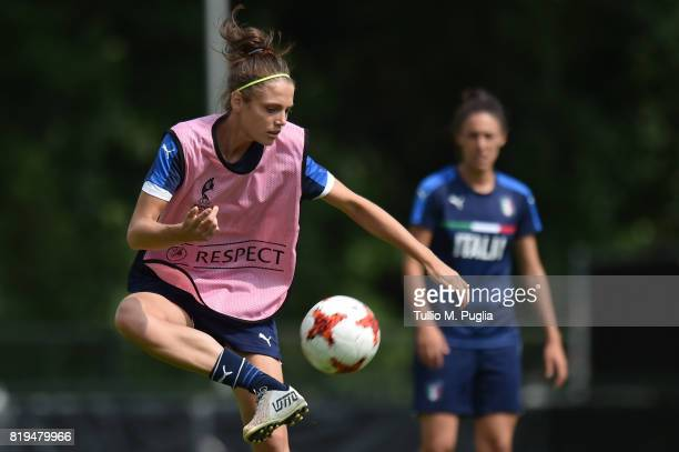 Cecilia Salvai of Italy women's national team takes part in a training session during the UEFA Women's EURO 2017 at De Zwervers training center on...